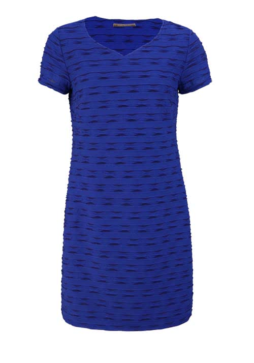 BETTY BARCLAY Kurzarm Kleid V-Ausschnitt Struktur royal blau