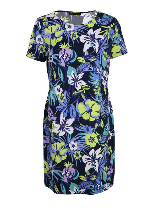 BETTY BARCLAY Kurzarm Midi Kleid Rundhals Jersey Blumen Design grün