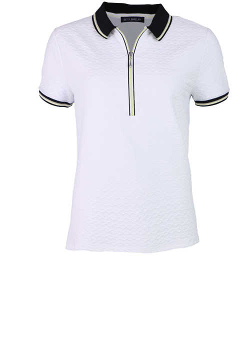 BETTY BARCLAY Kurzarm Poloshirt Polokragen Zipper Jersey weiß