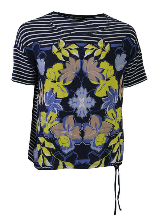 BETTY BARCLAY Kurzarm Shirt Rundhals Strass Muster blau