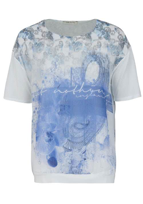 BETTY BARCLAY Kurzarm T-Shirt Rundhals Allover Druck Muster weiß/blau
