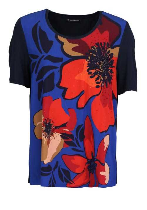 BETTY BARCLAY Kurzarm T-Shirt Rundhals Floral Strass Muster rot
