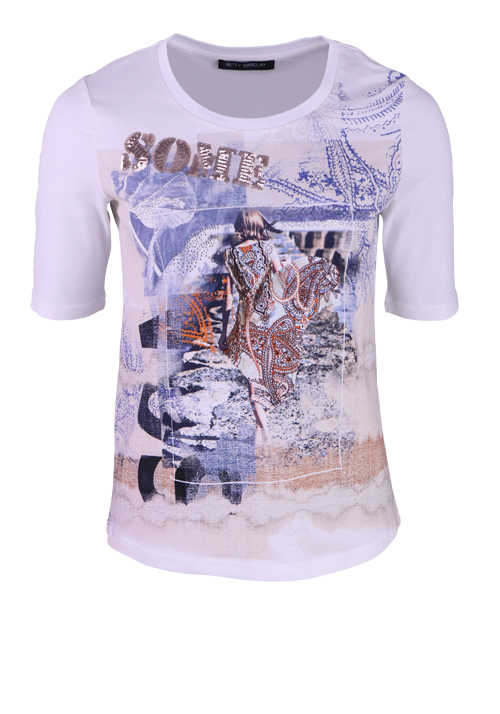 BETTY BARCLAY Kurzarm T-Shirt Rundhals Statement-Print Strasssteine Muster weiß