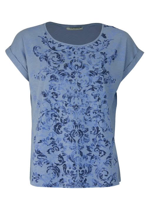 BETTY BARCLAY Kurzarm T-Shirt Rundhals Statement-Print mittelblau