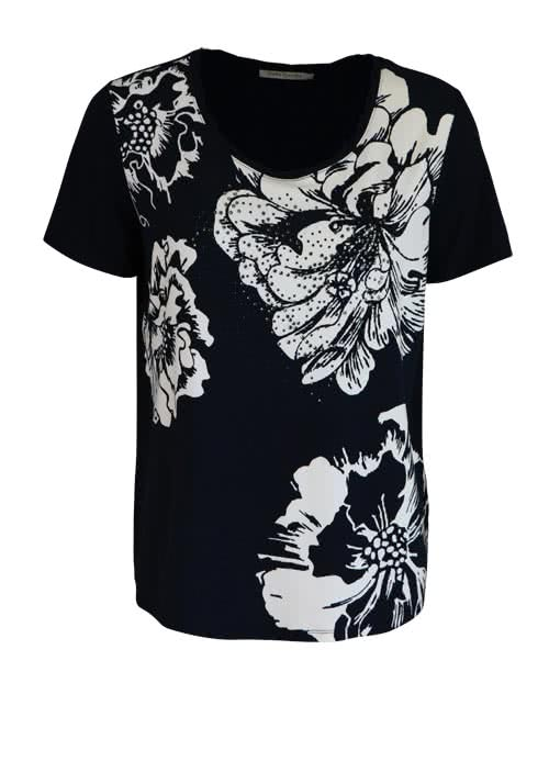 BETTY BARCLAY Kurzarm T-Shirt Rundhals Statement-Print nachtblau/ecru