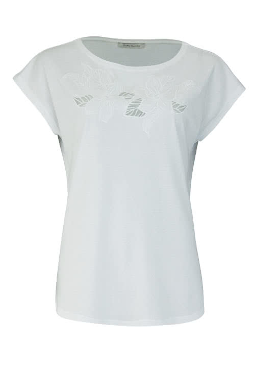 BETTY BARCLAY Kurzarm T-Shirt Rundhals Stickerei weiß