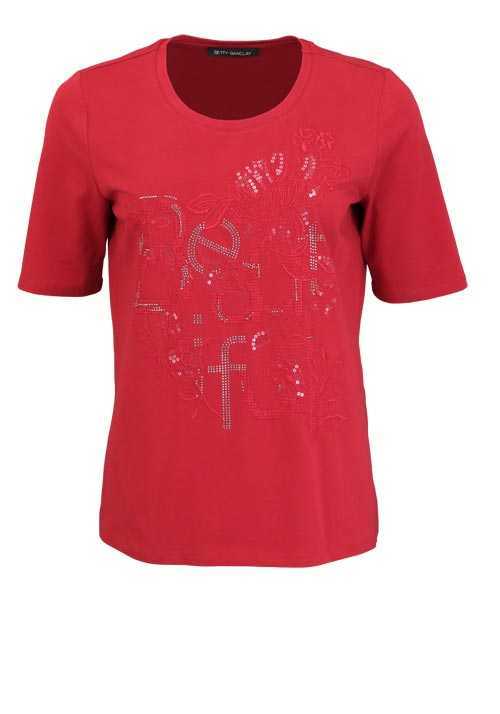BETTY BARCLAY Kurzarm T-Shirt Rundhals Strass Stickerei dunkelrot