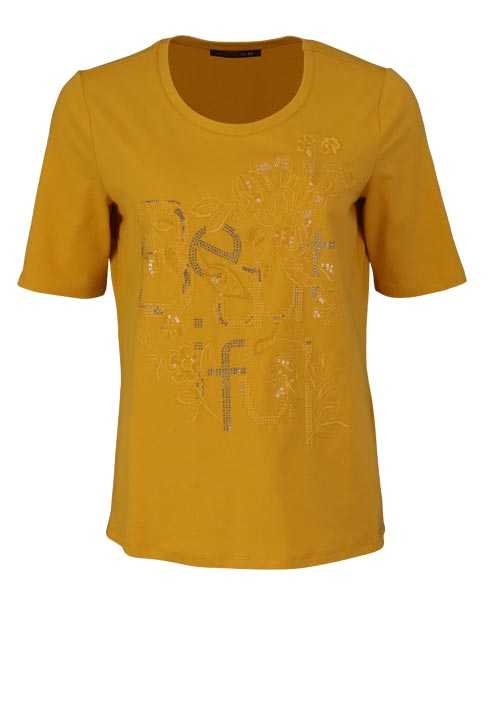 BETTY BARCLAY Kurzarm T-Shirt Rundhals Strass Stickerei sonnengelb