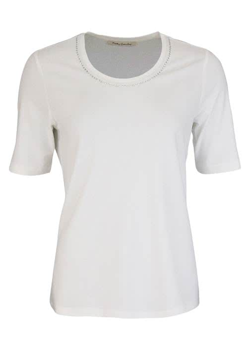 BETTY BARCLAY Kurzarm T-Shirt Rundhals Strasssteine ecru