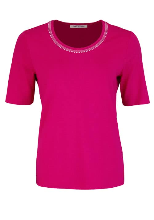 BETTY BARCLAY Kurzarm T-Shirt Rundhals Strasssteine pink