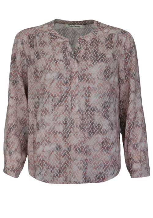 BETTY BARCLAY Langarm Bluse Brusttasche Muster rosa/grau