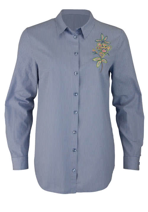 BETTY BARCLAY Langarm Bluse Hemdkragen Stickerei Streifen hellblau
