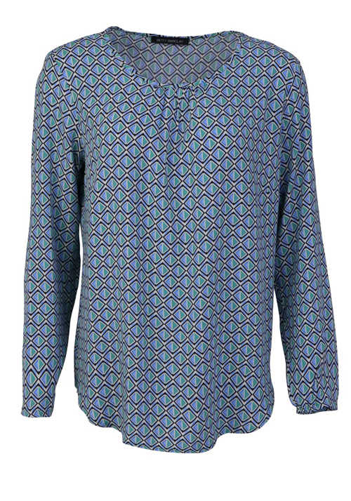 BETTY BARCLAY Langarm Bluse Rundhals Loose Fit Muster mittelblau