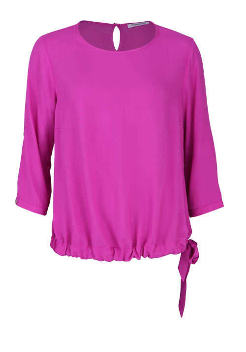 BETTY BARCLAY Langarm Bluse Rundhals Loose Fit Tunnelzug hibiskus