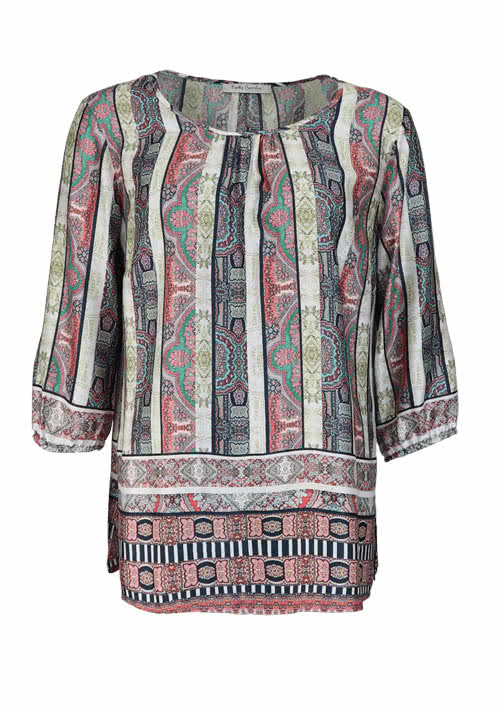 BETTY BARCLAY Langarm Blusenshirt Rundhals Allover Druck Multicolor