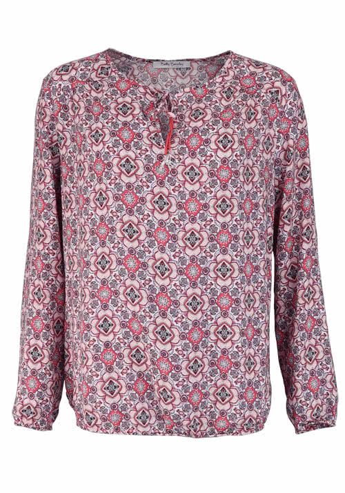 BETTY BARCLAY Langarm Blusenshirt Rundhals Allover Druck Muster rosa