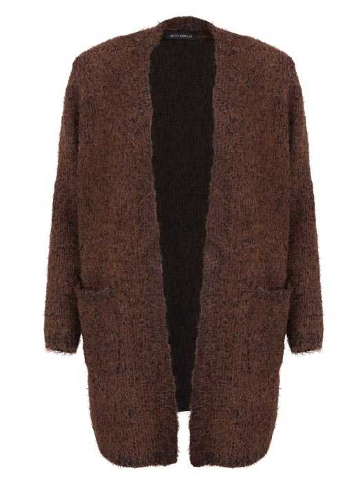BETTY BARCLAY Langarm Cardigan Offener Kragen Strick Muster braun