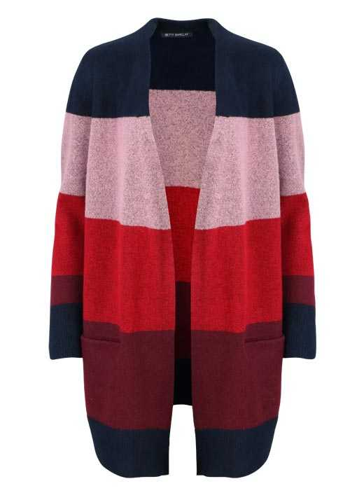 BETTY BARCLAY Langarm Cardigan Offener Kragen Strick Ringel rot