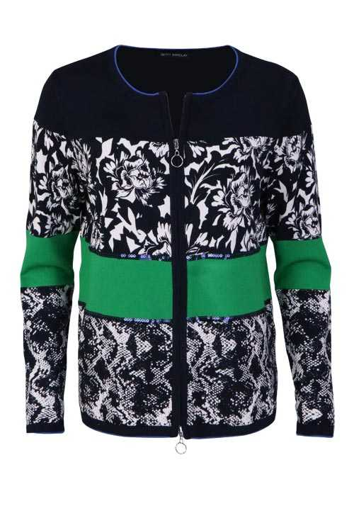 BETTY BARCLAY Langarm Cardigan Rundhals Zipper Muster dunkelblau