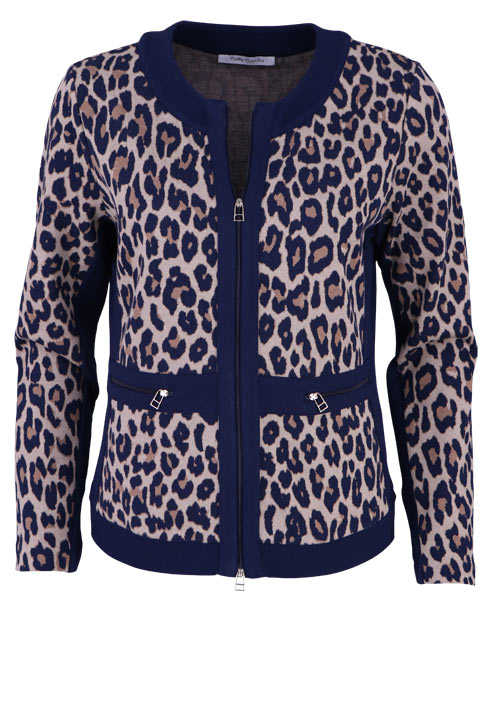 BETTY BARCLAY Langarm Jacke Rundhals Zipper Leo Muster blau