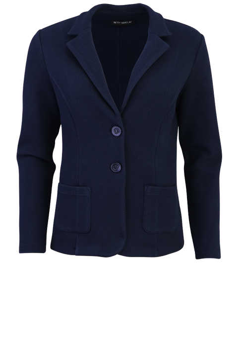 BETTY BARCLAY Langarm Jersey Blazer in Waffel-Strick-Optik navy