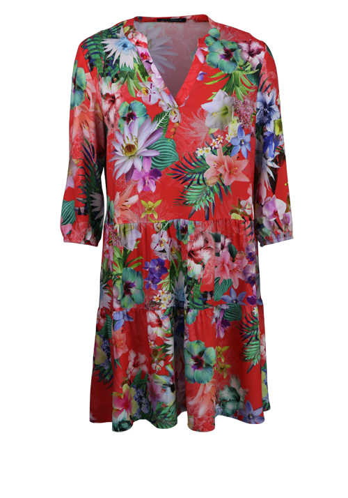 BETTY BARCLAY Langarm Kleid Rundhals Oversize Blumen Design rot