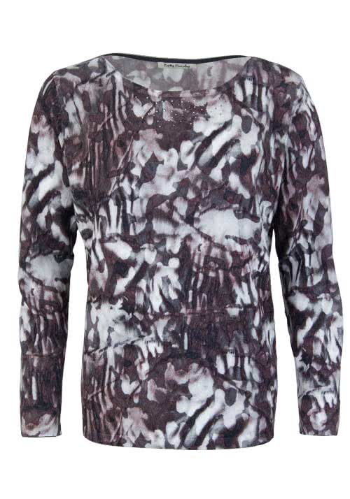 BETTY BARCLAY Langarm Pullover Rundhals Feinstrick Muster anthrazit