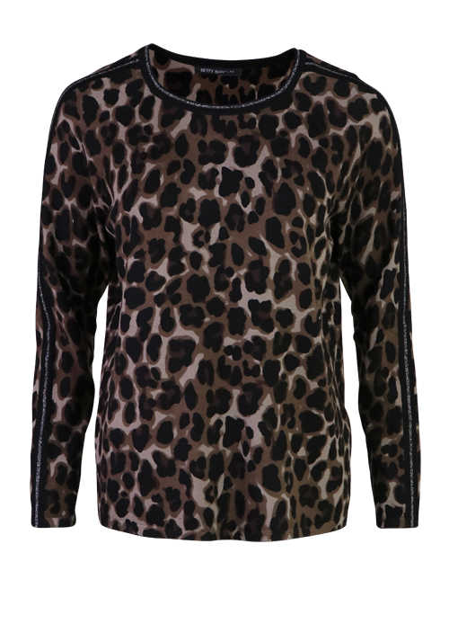 BETTY BARCLAY Langarm Pullover Rundhals Loose Fit Leo Muster braun