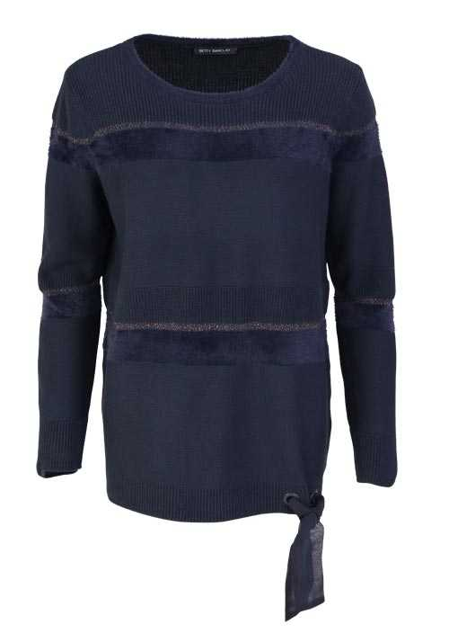 BETTY BARCLAY Langarm Pullover Rundhals Lurex Strick dunkelblau