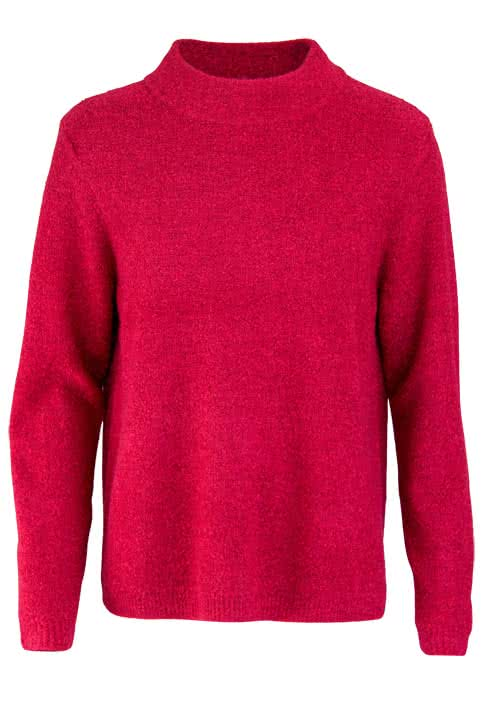BETTY BARCLAY Langarm Pullover Stehkragen Boucle-Strick rot