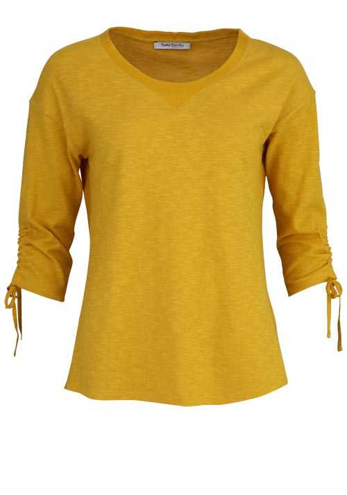 BETTY BARCLAY Langarm Shirt Rundhals Raffungen Materialmix gelb