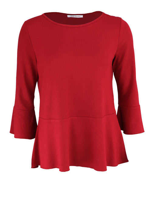 BETTY BARCLAY Langarm Shirt Tulpenärmel Volantsaum rot