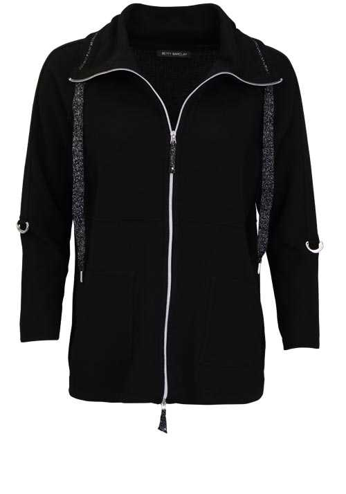 BETTY BARCLAY Langarm Strickjacke Auslegekragen schwarz