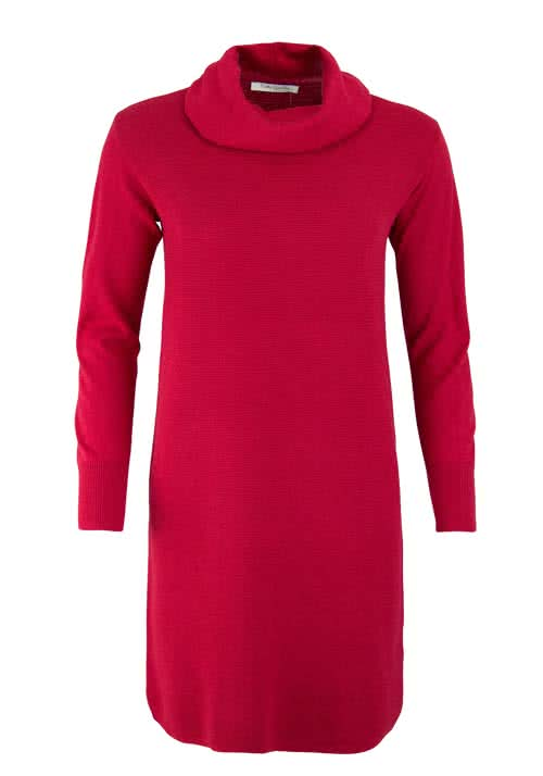 BETTY BARCLAY Langarm Strickkleid Rollkragen Zierstrick rot
