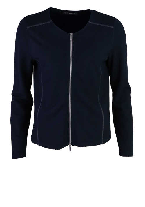 BETTY BARCLAY Langarm Sweatweste Rundhals Zipper dunkelblau