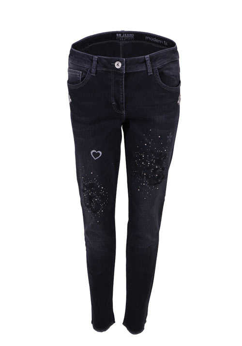 BETTY BARCLAY Modern Fit 5 Pocket Jeans Strass Used schwarz