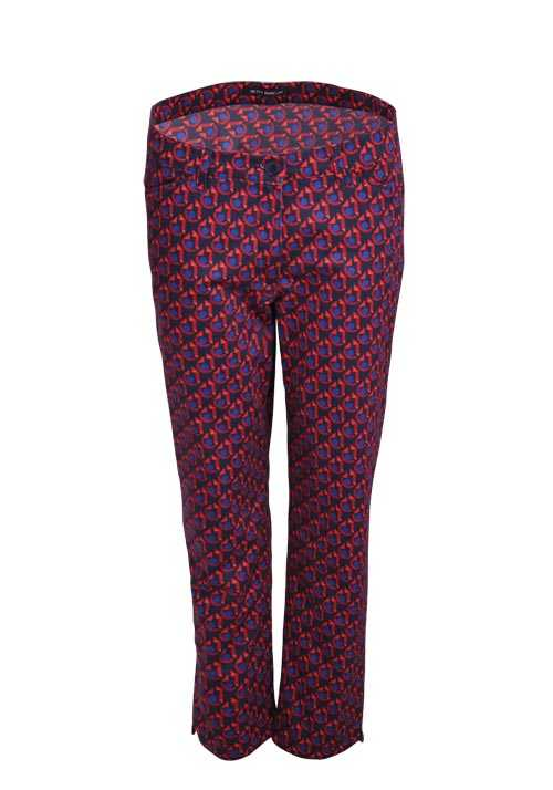 BETTY BARCLAY Skinny Hose Stretch Button-Zipp-Verschluss Muster rot
