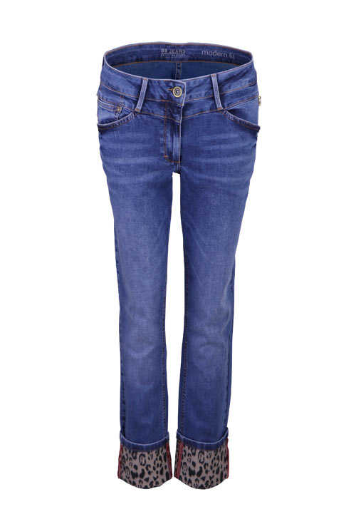 BETTY BARCLAY Skinny Jeans Used Strass Umschlag Leo-Muster mittelblau