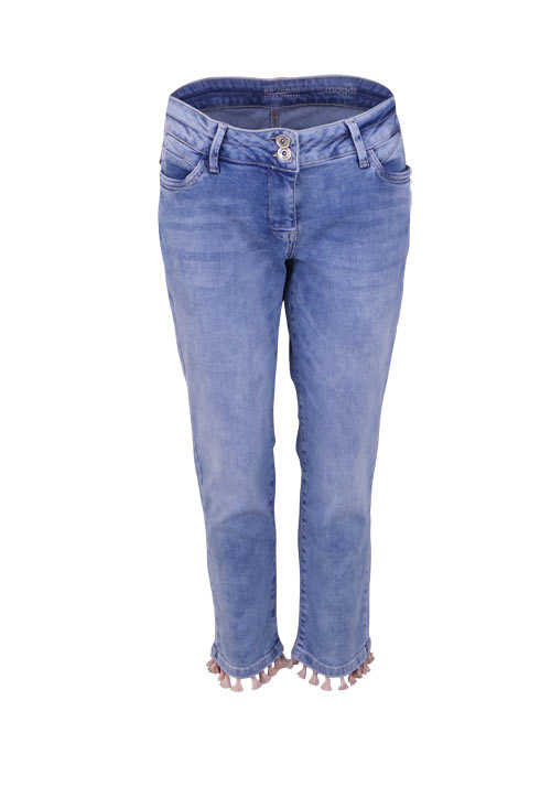 BETTY BARCLAY Straight Jeans Used Quasten verkürzt mittelblau