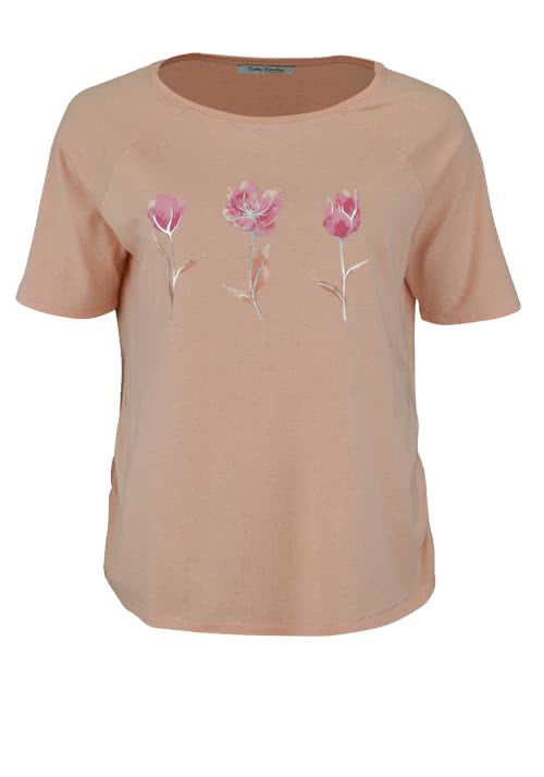 BETTY BARCLAY T-Shirt Rundhals Floraler-Druck lachs
