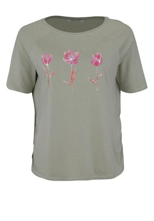 BETTY BARCLAY T-Shirt Rundhals Floraler-Druck oliv