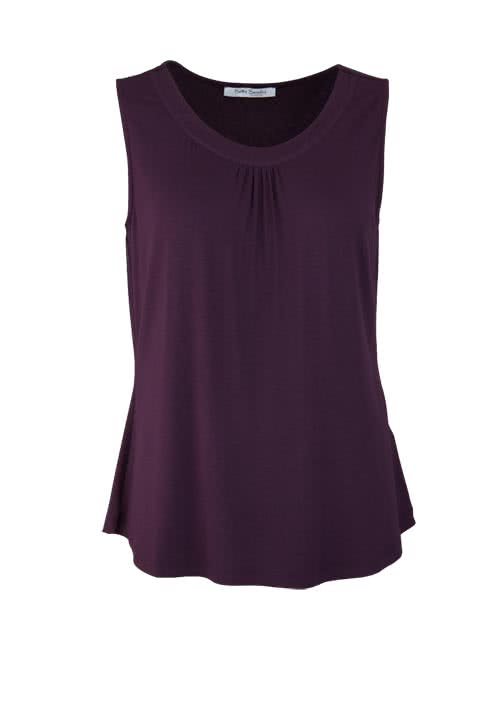 BETTY BARCLAY ärmelloses Top Rundhals Stretch aubergine