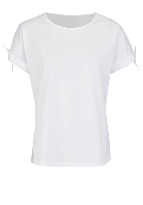 BOSS BUSINESS Kurzarm T-Shirt EVERIN Rundhals Zierschleife weiss