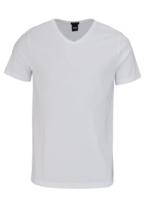 BOSS BUSINESS Regular Fit Kurzarm T-Shirt CANISTRO V-Ausschnitt weiß