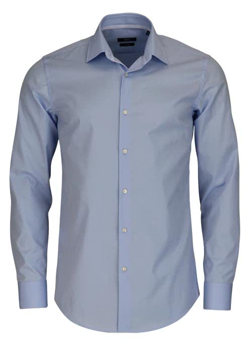BOSS BUSINESS Slim Fit Hemd Langarm JESSE New Kent Kragen hellblau
