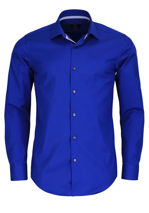 BOSS BUSINESS Slim Fit Hemd Langarm JESSE New Kent Kragen royalblau