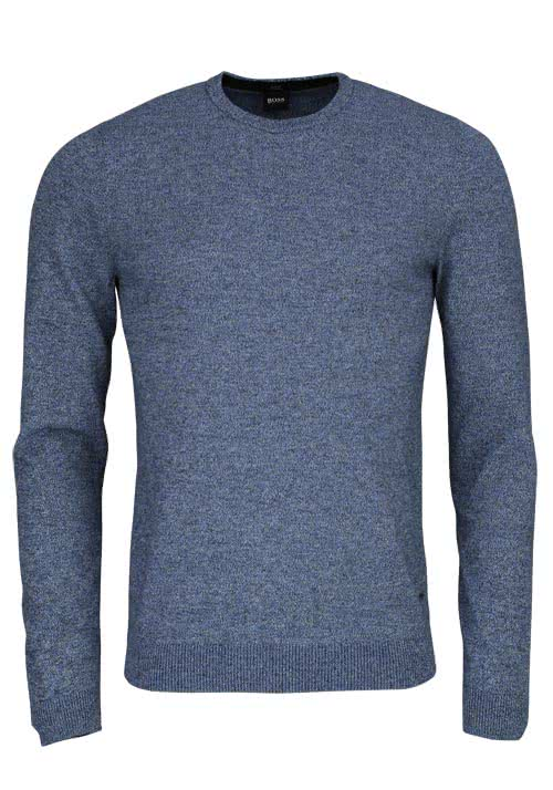 BOSS BUSINESS Slim Fit Pullover Rundhals FABELLO-D Strick blau