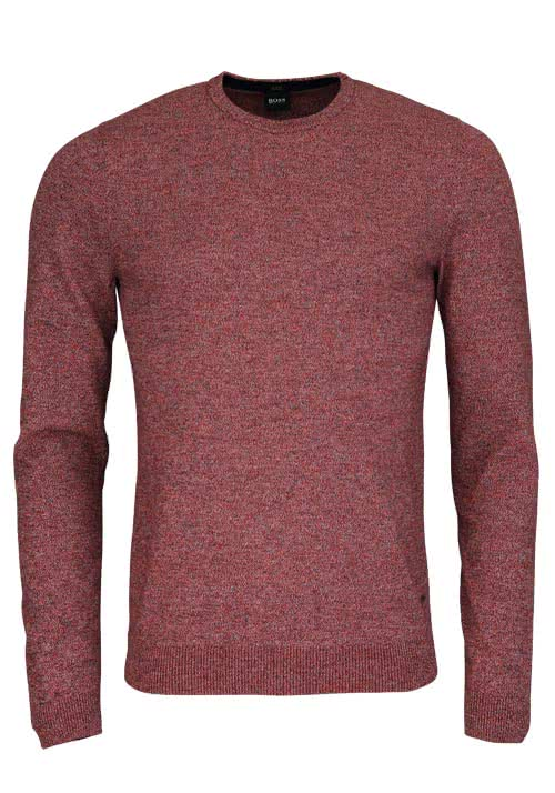 BOSS BUSINESS Slim Fit Pullover Rundhals FABELLO-D Strick rot