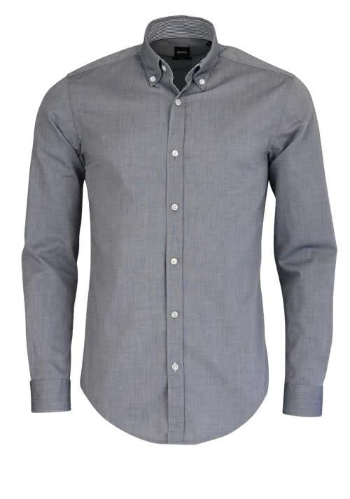 BOSS BUSINESS Slim Hemd ROD Langarm Button Down Kragen dunkelblau