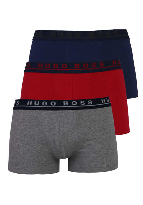 BOSS Boxershorts 3er Pack Stretch blau/rot/grau